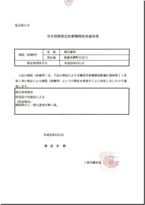 労災保険指定医療機関取消通知書